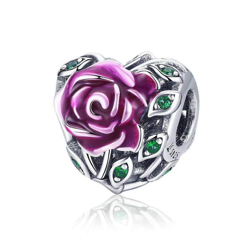 WOSTU Design 925 Sterling Silver Romantic Rose Love Charm Bead fit Original DIY Bracelet European S925 Fine Jewelry Gift SCC927