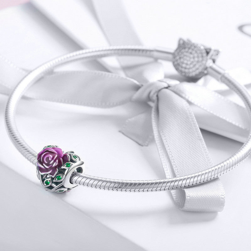 WOSTU Design 925 Sterling Silver Romantic Rose Love Charm Bead fit Original DIY Bracelet European S925 Fine Jewelry Gift SCC927 - WOSTU