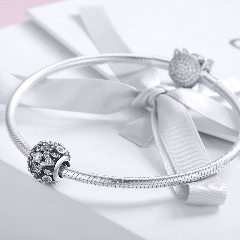 WOSTU High Quality 925 Sterling Silver Bright Star Charm Bead fit Original DIY Bracelet Bangle Fine Silver Jewelry Gift SCC928 - WOSTU