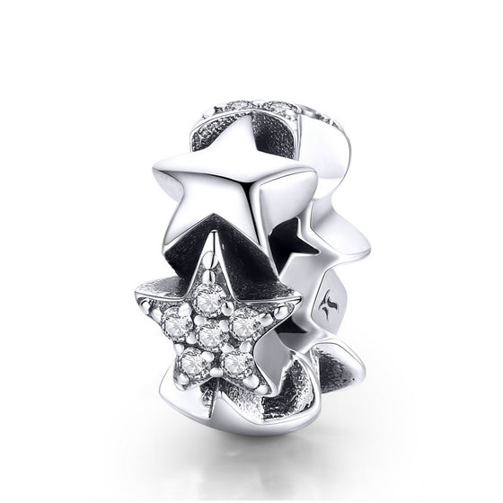 WOSTU Brand NEW Stars Spacer Charm Bead For Original DIY Bracelet Bangle Silver Jewelry Making Gift SCC929 - WOSTU