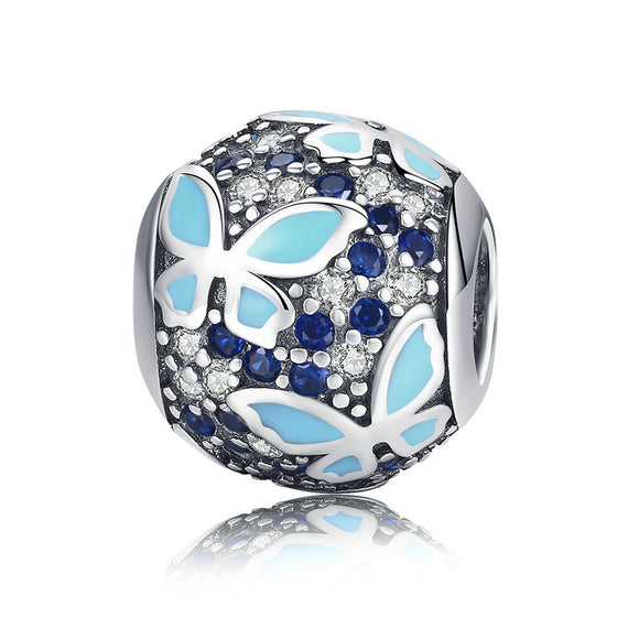 WOSTU Blue Butterfly Charm Bead For Original DIY Bracelet Bangle Silver Jewelry Making Gift SCC931 - WOSTU
