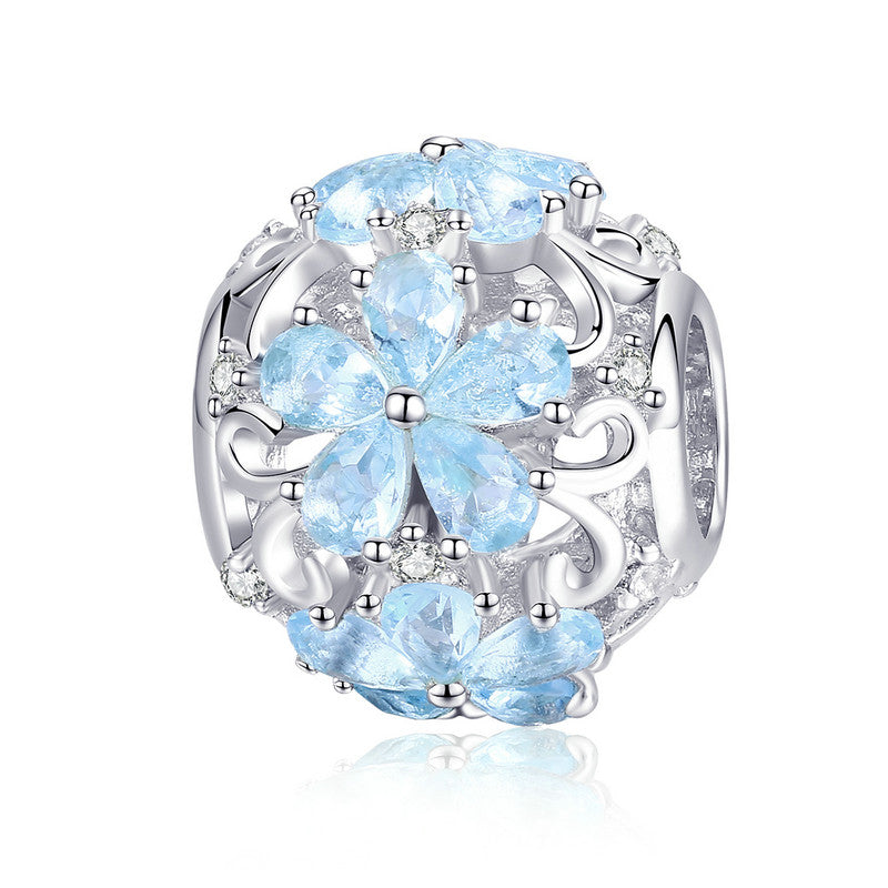 WOSTU Design 925 Sterling Silver Elegant Blue Daisy Charm Beads Fit Original DIY Brand Bracelet Jewelry Making Dropship SCC941 - WOSTU