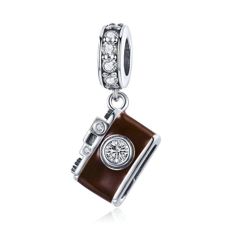 WOSTU Vintage 100% 925 Sterling Silver Picture Camera Beads Charm Fit Bangle & Necklace Genuine S925 Jewelry Making Gift SCC953 - WOSTU
