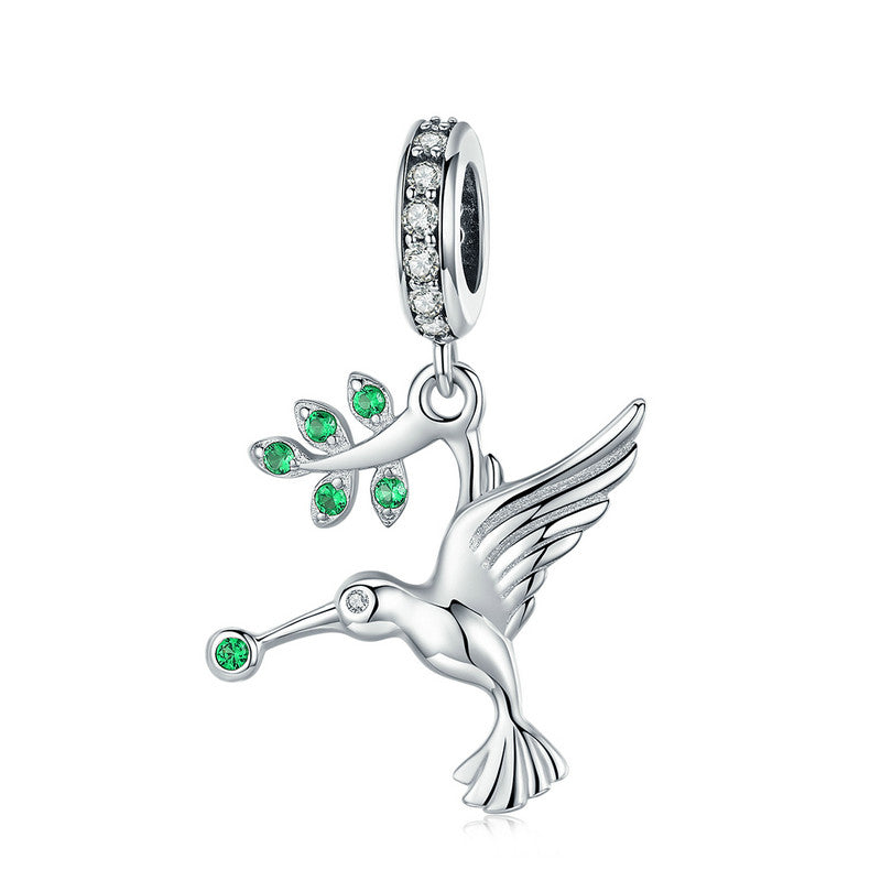 WOSTU Hot Sale 925 Sterling Silver Bird Pecks Green Leaf Dangles Charms Fit Bracelet & Necklace Pendant Elegant Jewelry SCC982