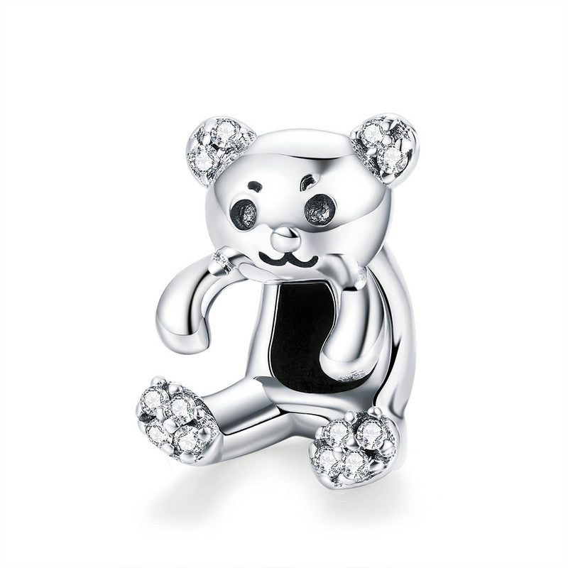 WOSTU 2018 New 925 Sterling Silver Lovely Hug Bear Beads Fit Charm Bracelet Pendant Original Unique Jewelry Accessories SCC984 - WOSTU