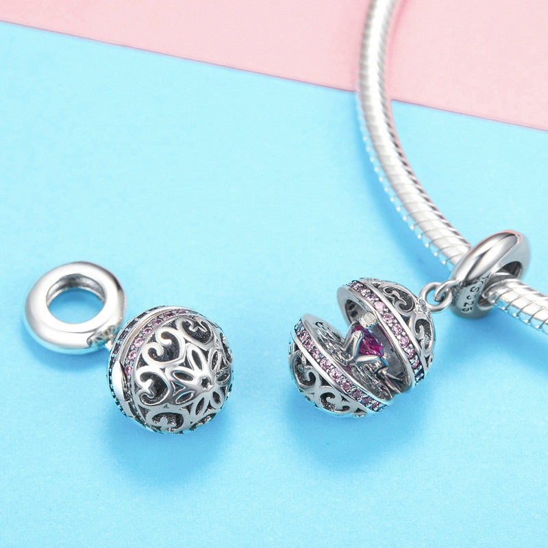 WOSTU New Collection 925 Sterling Silver Wish Box Heart CZ Dangles Charms Fit Bracelet & Necklace Pendant Jewelry SCC990