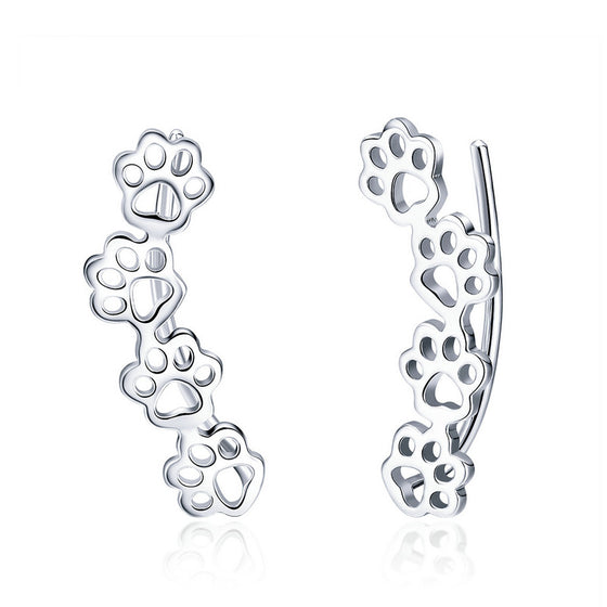 WOSTU Pet Pawprint Paw Print Stud Earrings For Women Original Earring Silver Jewelry Gift SCE430 - WOSTU