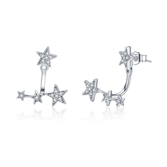 WOSTU Brilliant Shining Star Stud Earrings 925 Sterling Silver Clear CZ Tiny Earrings For Women Delicate Silver Jewelry SCE448 - WOSTU