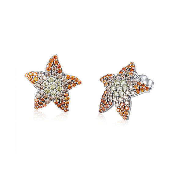 WOSTU Summer Beach Starfish Stud Earrings Clear CZ Delicate Earrings For Women Silver 925 Jewelry SCE449 - WOSTU