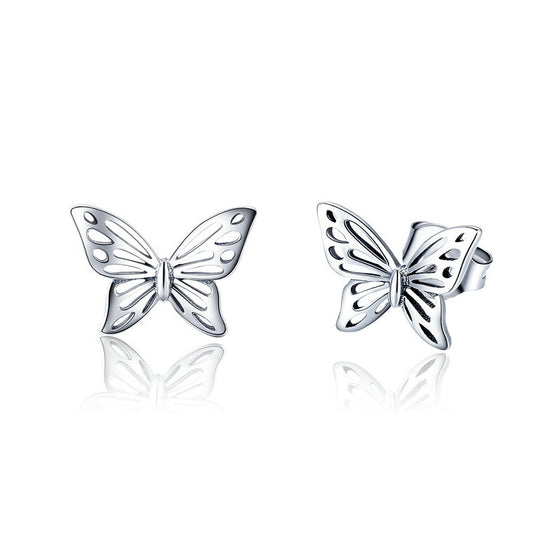 WOSTU Fashion New Openwork Butterfly Stud Earrings For Women Girl SFine Brand Jewelry Gift SCE452 - WOSTU