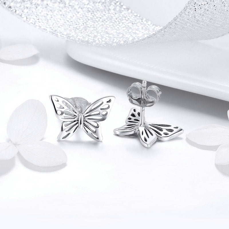 WOSTU Fashion New 925 Sterling Silver Openwork Butterfly Stud Earrings For Women Girl S925 Silver Fine Brand Jewelry Gift SCE452 - WOSTU