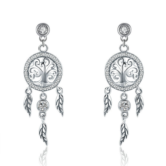 WOSTU Dreamcatcher Drop Earrings For Women Female Brand Original Earring Jewelry Gift SCE457 - WOSTU