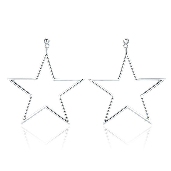 WOSTU Pentagram Stars Drop Earrings For Women Girl Big Earring Jewelry New Year Gift SCE463 - WOSTU
