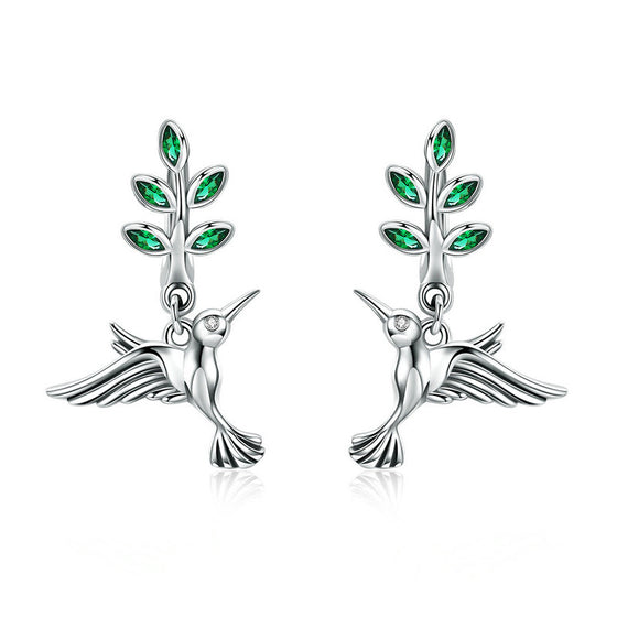 WOSTU 100% Real 925 Sterling Silver Green Leaves & Birds Stud Earrings for Women Birthday Forest Style Fresh Jewelry Gift SCE464