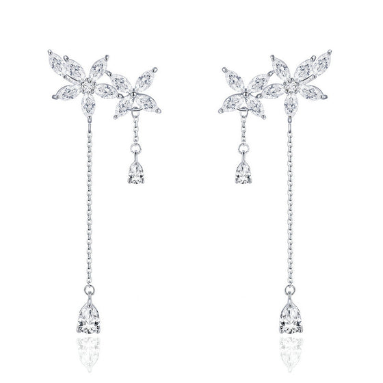 Aliexpess Luxury Silver Color Drop Earrings With Sparkling White AAA CZ Zircon Imitation Pearl Jewelry For Women Gift SCE469 - WOSTU
