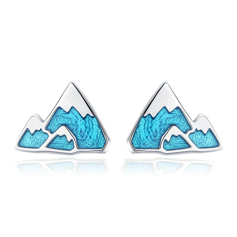 WOSTU Hot Fashion 925 Sterling Silver Iceberg Mountain Stud Earrings For Women Girlfriend Unique Original Jewelry Gift SCE475