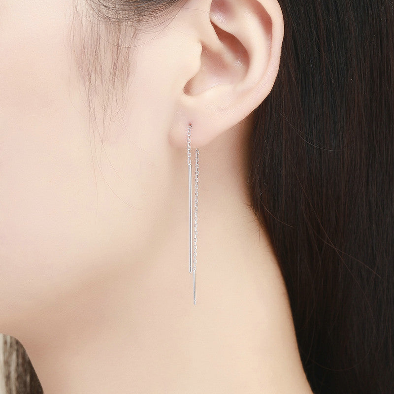 WOSTU New Arrival 925 Sterling Silver Original Elegant Line Long Drop Earrings for Women 2018 Fashion Silver Jewelry SCE490 - WOSTU