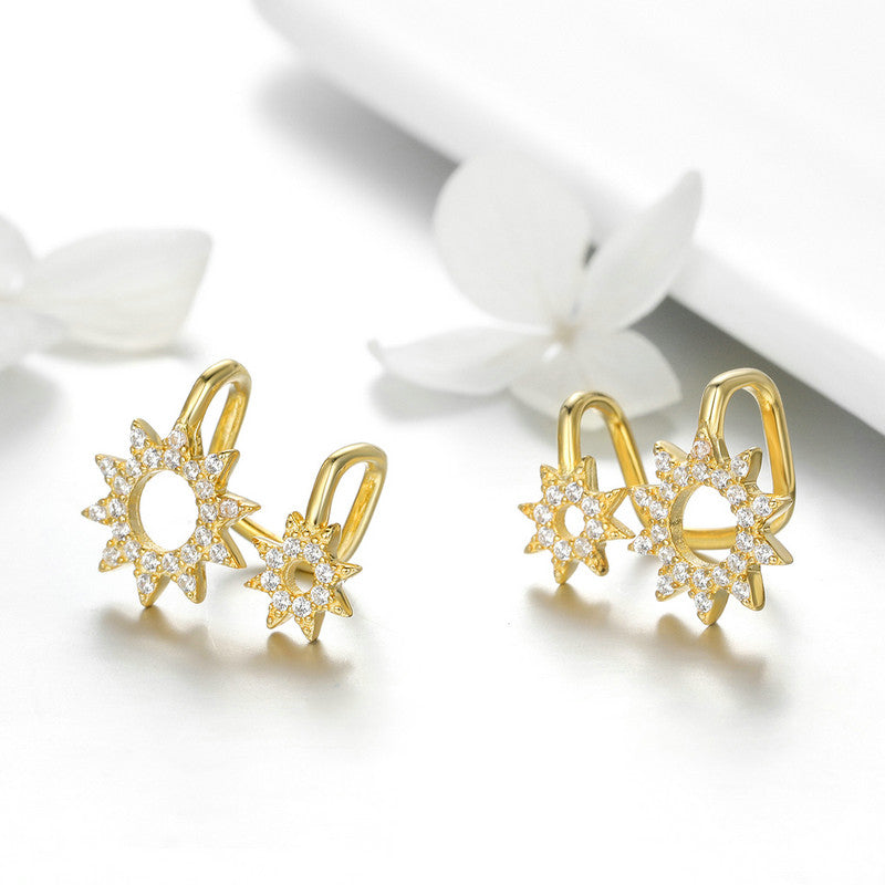 WOSTU & Gold Color Sun Clip Earrings For Women Anniversary Party Fashion Jewelry Gift SCE492 - WOSTU