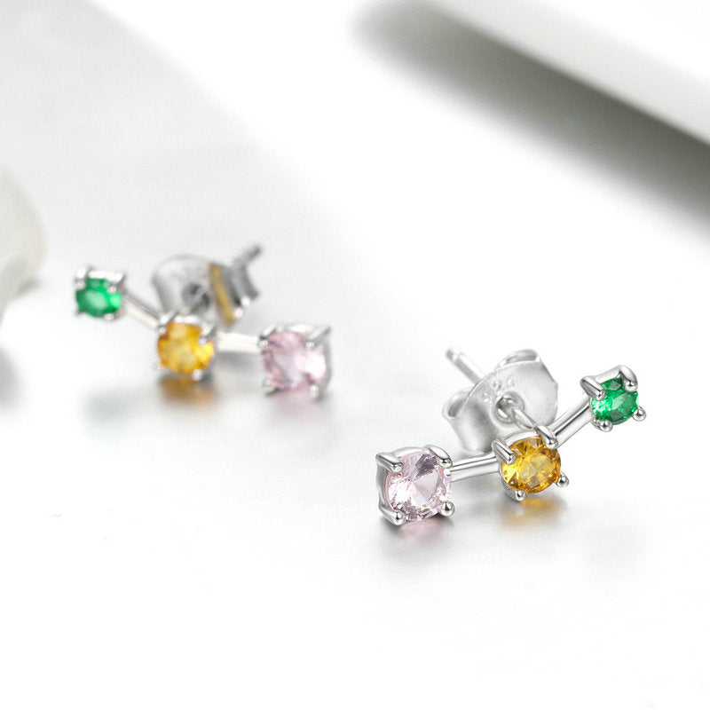 WOSTU Colorful Neon Stud Earrings Pink Zircon Dangle Long Earrings For Women Fashion Jewelry SCE495 - WOSTU