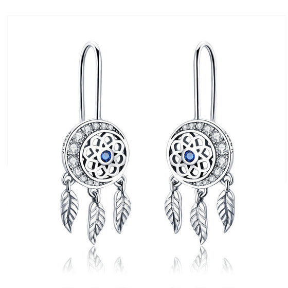 WOSTU Dreamcatcher & Moon Drop Earrings For Women Wedding Luxury Jewelry Gift SCE497 - WOSTU