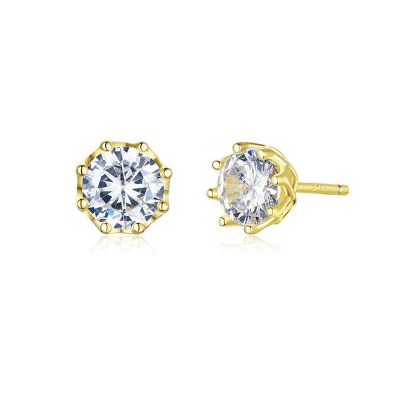 WOSTU Zircon Gold Color Stud Earrings SCE499-B - WOSTU