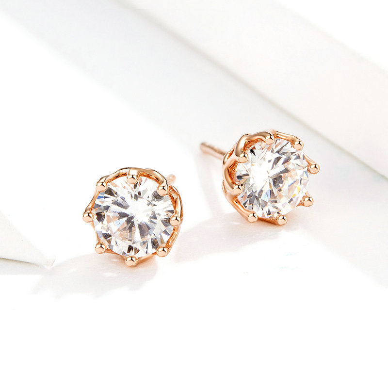WOSTU Sparkling Light Stud Earrings For Women Engagement Wedding Fashion Fresh Jewelry Gift SCE499 - WOSTU