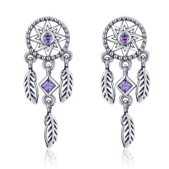 WOSTU Star Dreamcatcher Stud Earrings For Women Anniversary Original Jewelry Wholesale Gift SCE502 - WOSTU