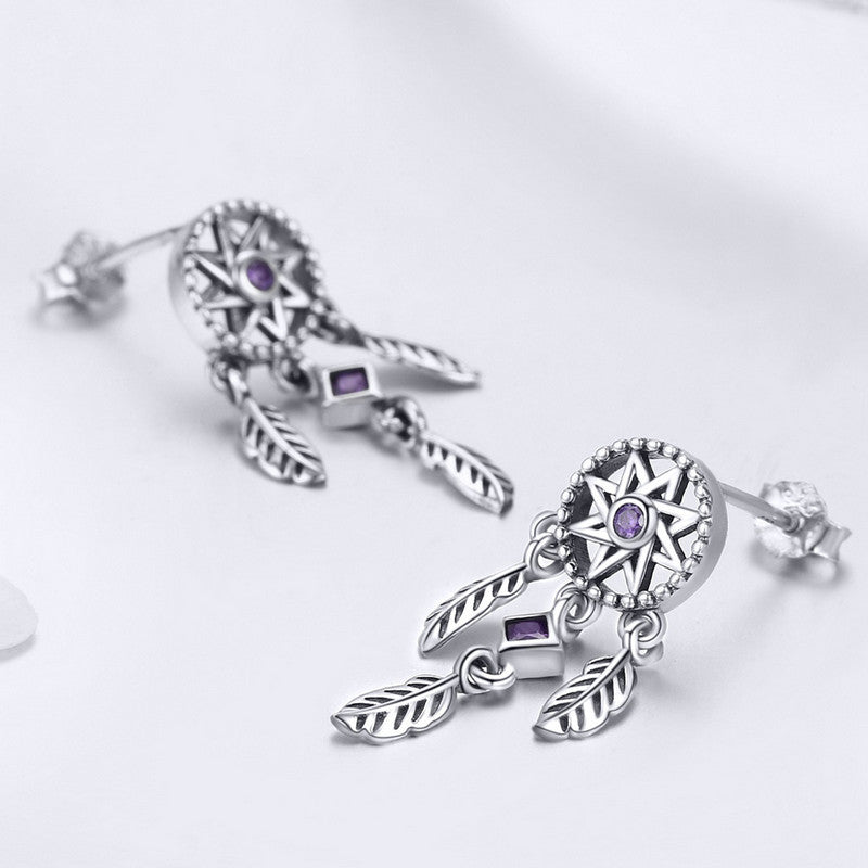 WOSTU Genuine 925 Sterling Silver Star Dreamcatcher Stud Earrings For Women Anniversary Original Jewelry Wholesale Gift SCE502