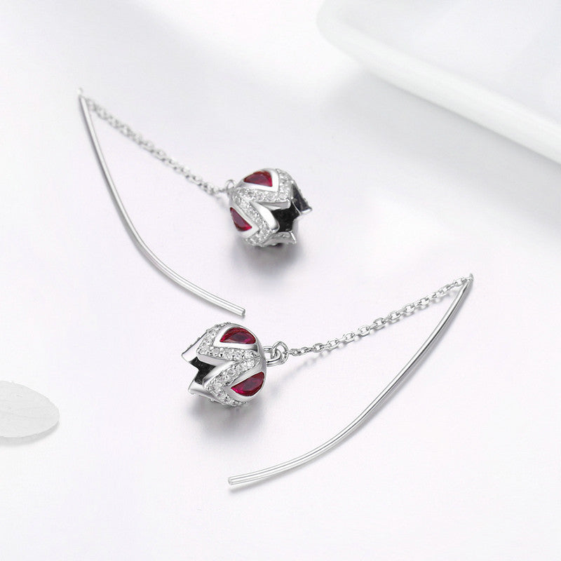 WOSTU New Arrival 925 Sterling Silver Tulip Story Drop Earrings For Women Anniversary Unique Romantic Jewelry Best Gift SCE504