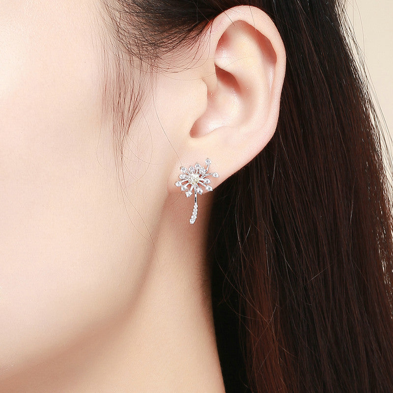 WOSTU Dandelion Fly Stud Earrings For Women Engagement Wedding Elegant Fresh Jewelry SCE506 - WOSTU