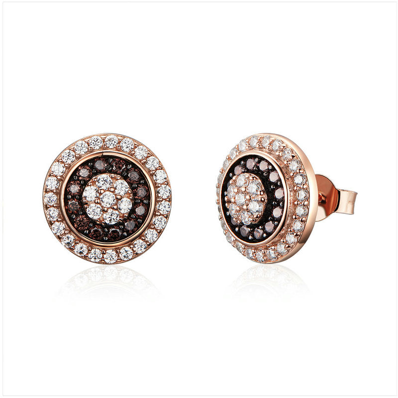 WOSTU Rose Gold Round Stud Earrings Cubic Zirconia  Women Jewelry Tiny Earings Engagement Gift SCE509 - WOSTU