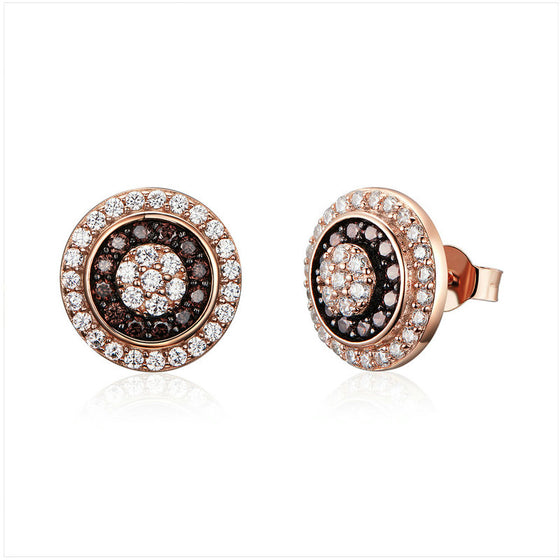 WOSTU Real 925 Sterling Silver Rose Gold Round Stud Earrings Cubic Zirconia  Women Jewelry Tiny Earings Engagement Gift SCE509