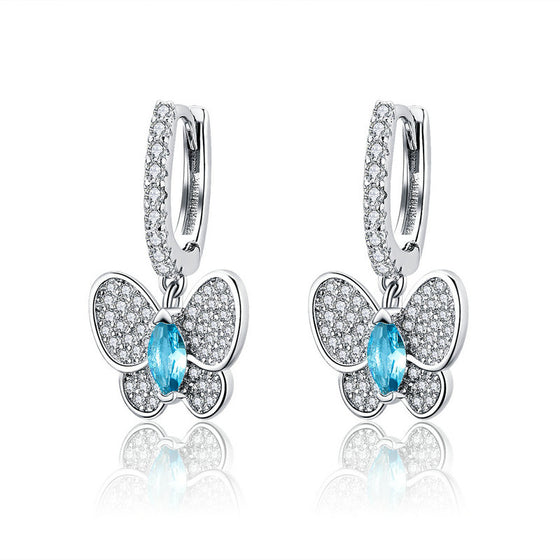 WOSTU Dazzling Blue Butterfly Cute Drop Earrings For Women Luxury Silver Brand Jewelry Gift SCE513 - WOSTU