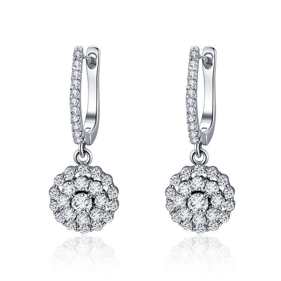 WOSTU Real 925 Sterling Silver Vintage Round Drop Earrings With Cubic Zirconia Luxury Woman Earring Designer Jewelry Gift SCE517