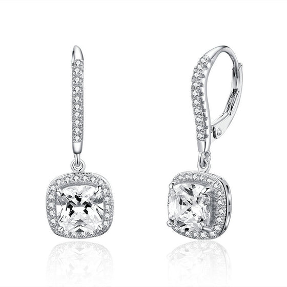 WOSTU Authentic 925 Sterling Silver Fashion Square Drop Earring With Clear CZ Women Jewelry Earrings Luxury Brand Gift SCE520 - WOSTU