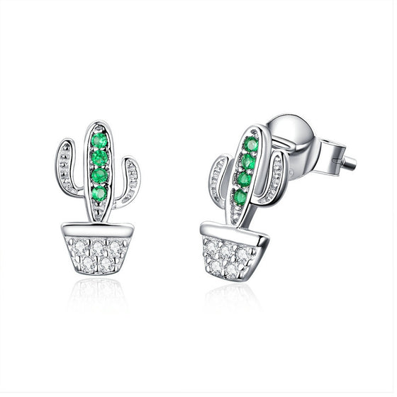 WOSTU Authentic 925 Sterling Silver Fashion Cactus Drop Earring With Clear CZ Women Jewelry Earrings Luxury Brand Gift SCE522