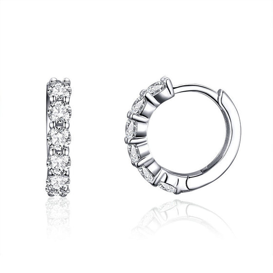 WOSTU Korean Style Circle Hoop Earrings 925 Sterling Silver Clear CZ Beauty Earrings For Women Wedding Fashion Jewelry SCE524 - WOSTU