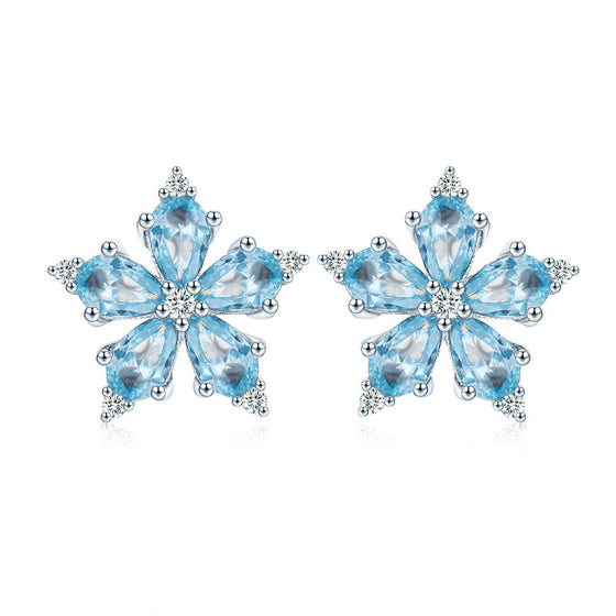 WOSTU Streamers Winter Snowflakes Stud Earrings For Women Engagement Wedding Classic Jewelry SCE525 - WOSTU