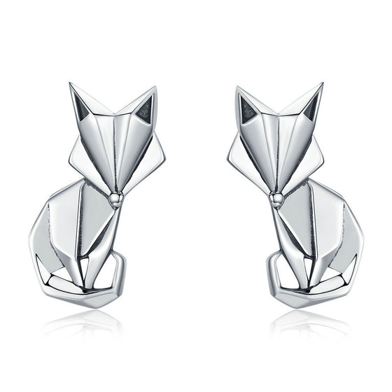 WOSTU Folding Fox Stud Earrings For Women Engagement Party Romantic Luxury Jewelry Gift SCE526 - WOSTU