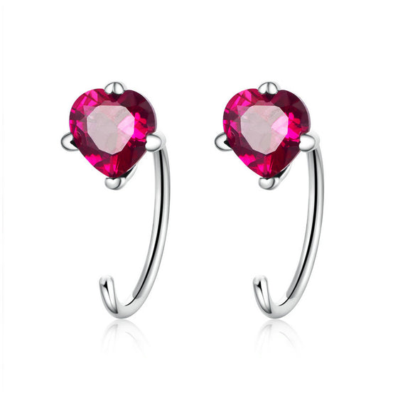 WOSTU Authentic 925 Sterling Silver Pink Heartbeat Stud Earrings Clear CZ Women Jewelry Earrings Luxury Brand Gift SCE531 - WOSTU