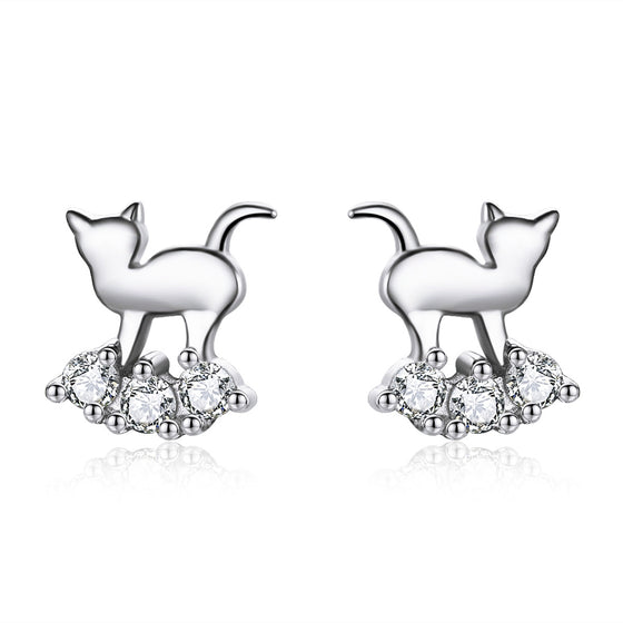 WOSTU Lovely Earrings Crystal Cute Cat Zircon Tiny Stud Earrings For Women Wedding Party Jewelry Gift SCE537 - WOSTU