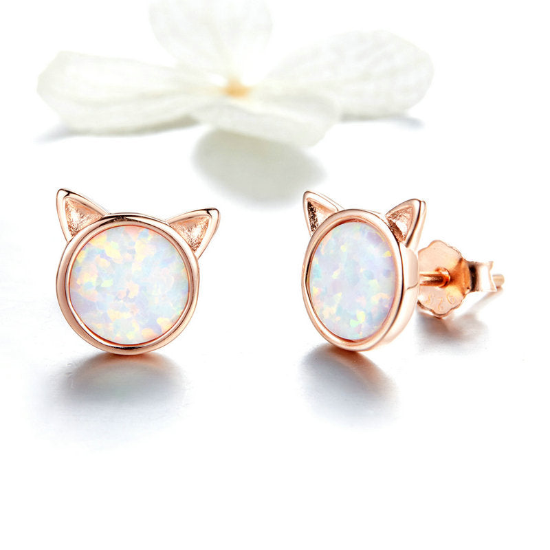 WOSTU Earrings Rose Gold Cute Cat Opal Stone Tiny Stud Earrings For Women Wedding Jewelry SCE538 - WOSTU