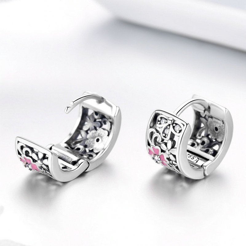 WOSTU Resl Daisy Flower Pink Zircon Elegant Stud Earrings For Women Fashion Earrings Luxury Jewelry SCE541 - WOSTU