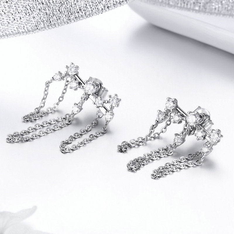 WOSTU Fashion Dazzling Zircon Meteor Chain Long Drop Earrings For Women Wedding Party Luxury Jewelry SCE546 - WOSTU