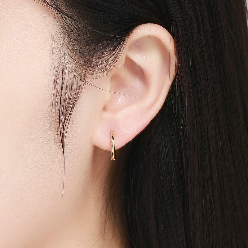WOSTU Korean Fashion Circle Gold Color Stud Earrings For Women Wedding Engagement Silver 925 Jewelry SCE558 - WOSTU