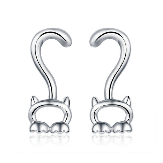 WOSTU Cute Kitty Cat Long Tail Stud Earrings For Women Small Funny Earrings Fashion Girl Jewelry SCE564 - WOSTU