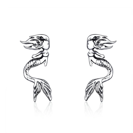 WOSTU Vintage Style Mermaid Tail Stud Earrings 925 Sterling Silver Sea-maid Small Earrings For Women 2019 Fashion Jewelry SCE588 - WOSTU