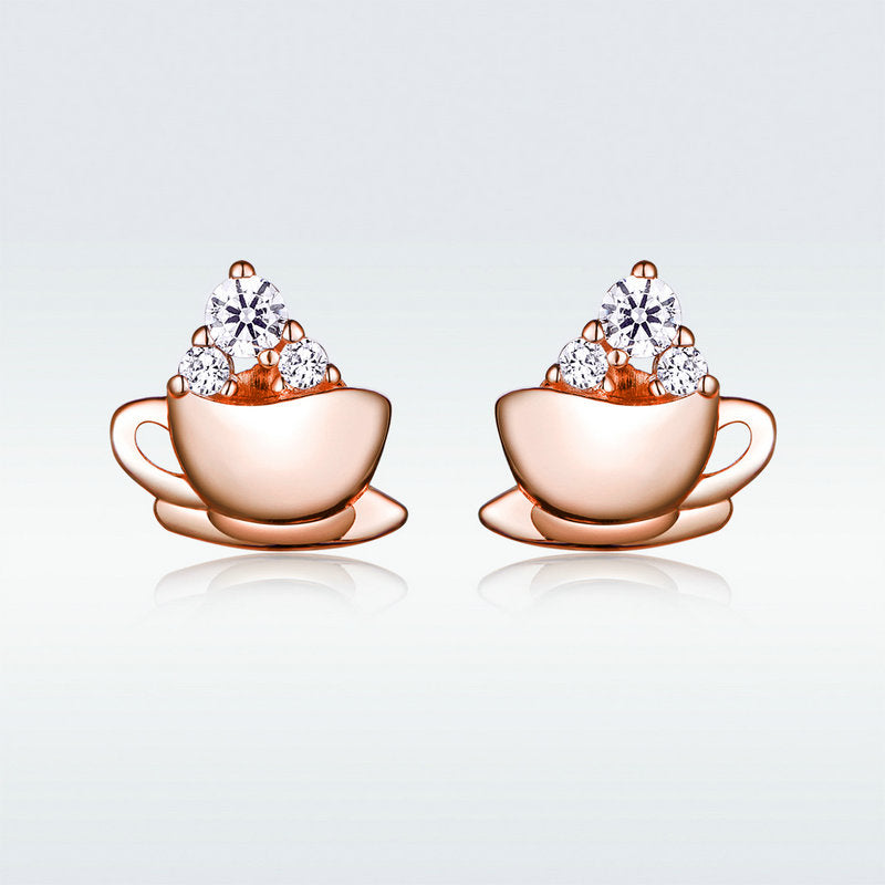 WOSTU Coffee Cups Stud Earrings Dazzling Zircon Rose Gold Small Earrings For Women Delicate Jewelry SCE592 - WOSTU