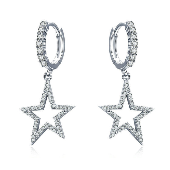 WOSTU Dazzling Stars Dangle Earrings 925 Sterling Silver Zircon Crystal Drop Earrings For Women Wedding Luxury Jewelry SCE593 - WOSTU