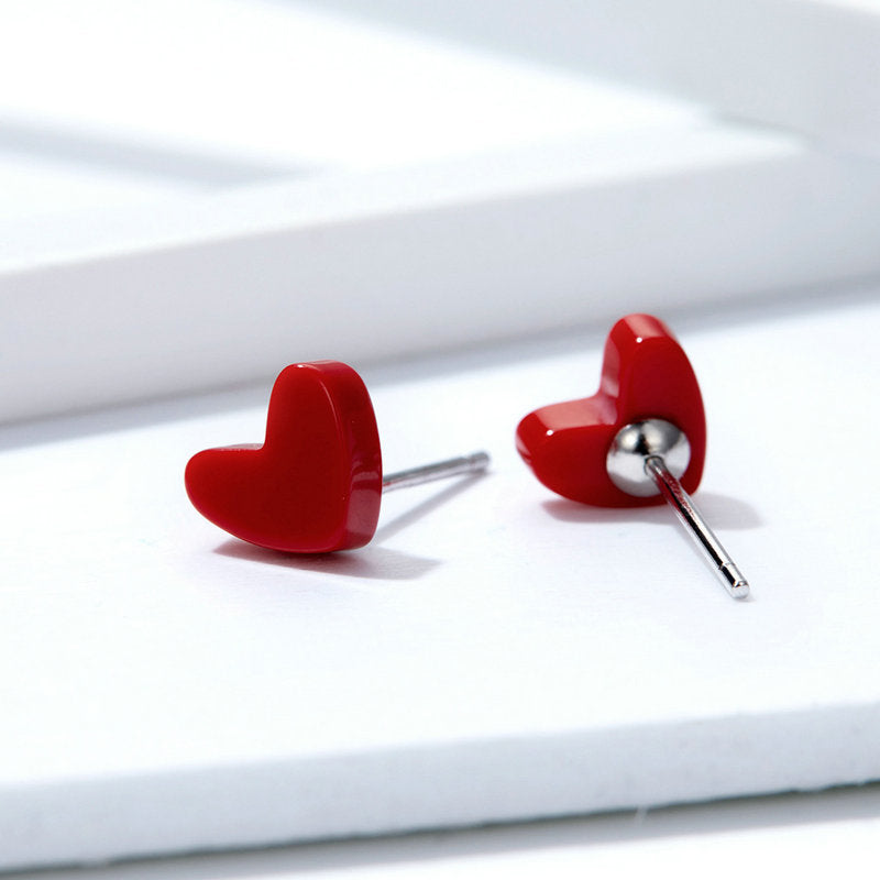 WOSTU Exquisite Love-Shape Stud Earrings Delicate Heart Tiny Earrings For Women Girls Lover Jewelry SCE595 - WOSTU